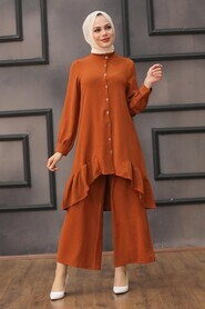 Terra Cotta Hijab Dual Suit Dress 2428KRMT - Thumbnail