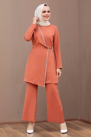 Terra Cotta Hijab Dual Suit Dress 3000KRMT - Thumbnail