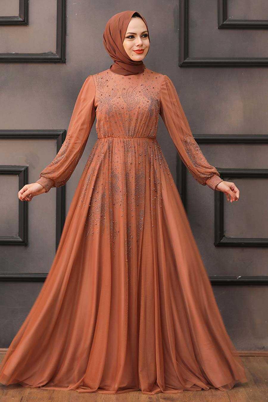 Terra Cotta Hijab Evening Dress 22031KRMT