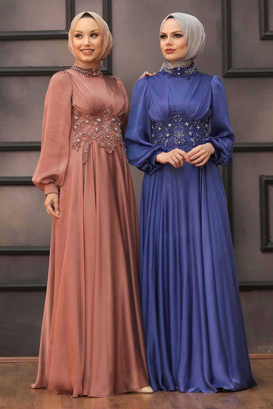 Terra Cotta Hijab Evening Dress 22150KRMT