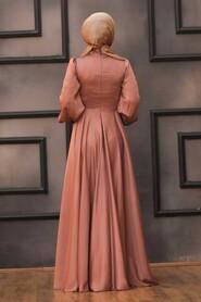 Terra Cotta Hijab Evening Dress 22150KRMT - Thumbnail
