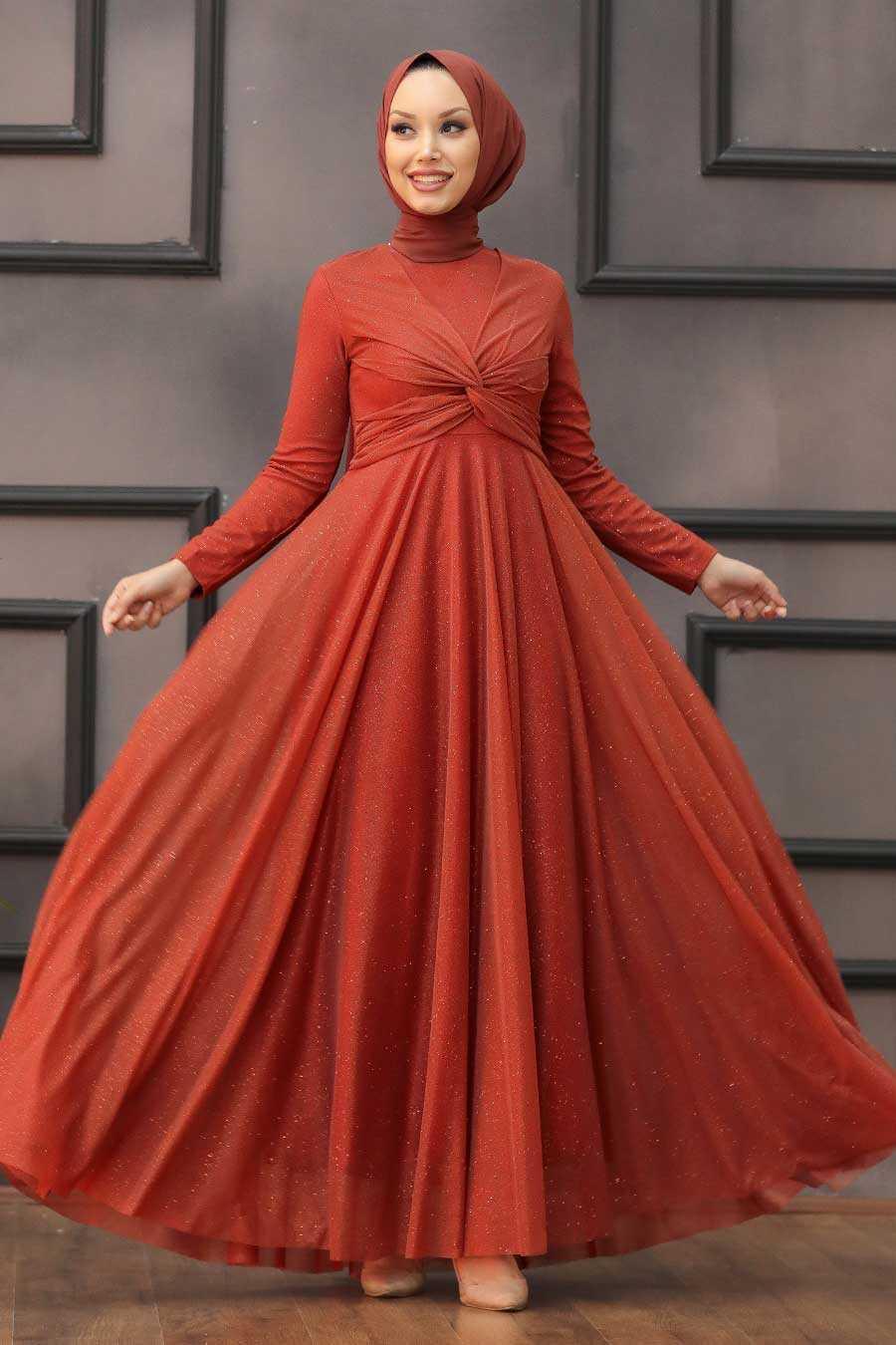 Terra Cotta Hijab Evening Dress 5397KKRMT