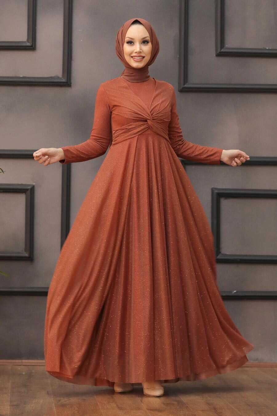 Terra Cotta Hijab Evening Dress 5397KRMT