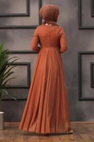 Terra Cotta Hijab Evening Dress 5397KRMT - Thumbnail