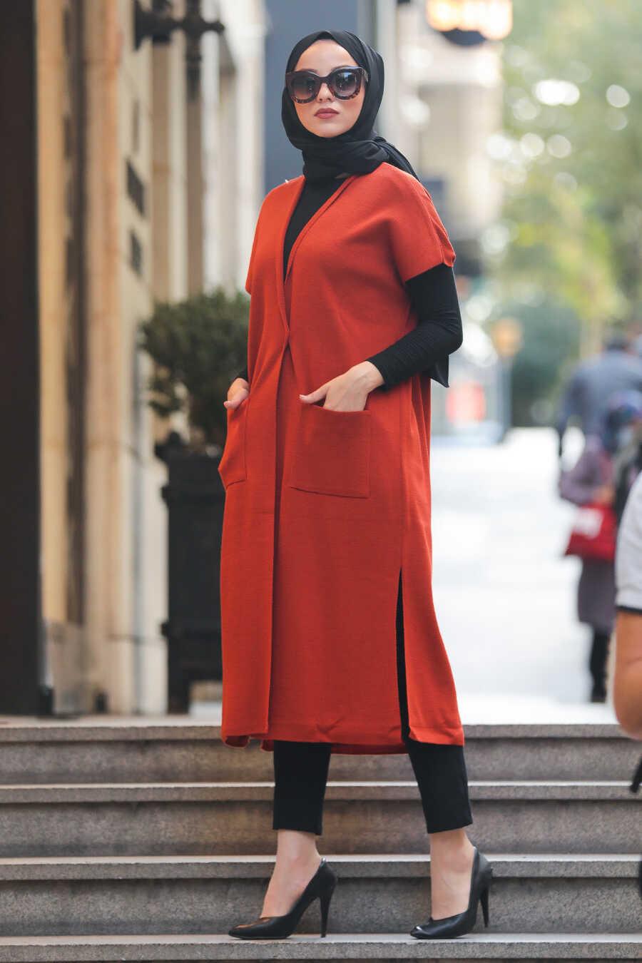 Terra Cotta Hijab Knitwear Vest 21920KRMT