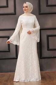 White Hijab Evening Dress 2567B - Thumbnail
