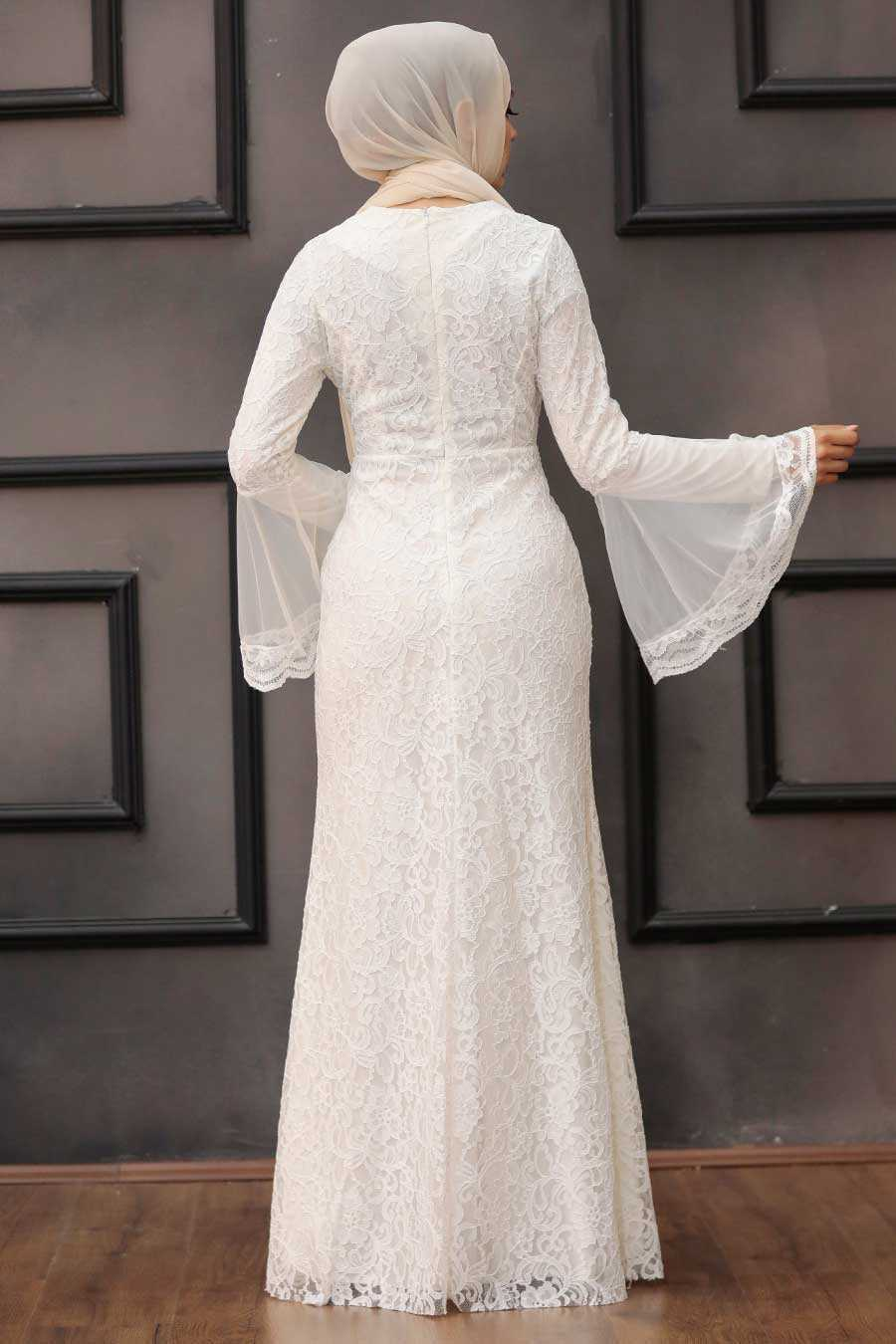 White Hijab Evening Dress 2567B