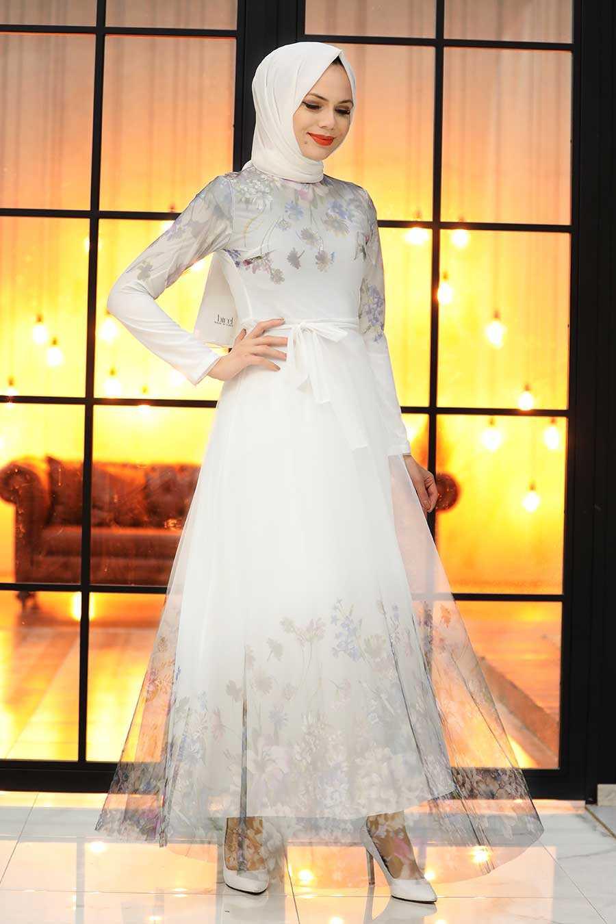 White Hijab Evening Dress 50171B