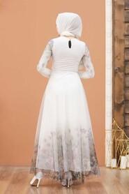 White Hijab Evening Dress 50171B - Thumbnail