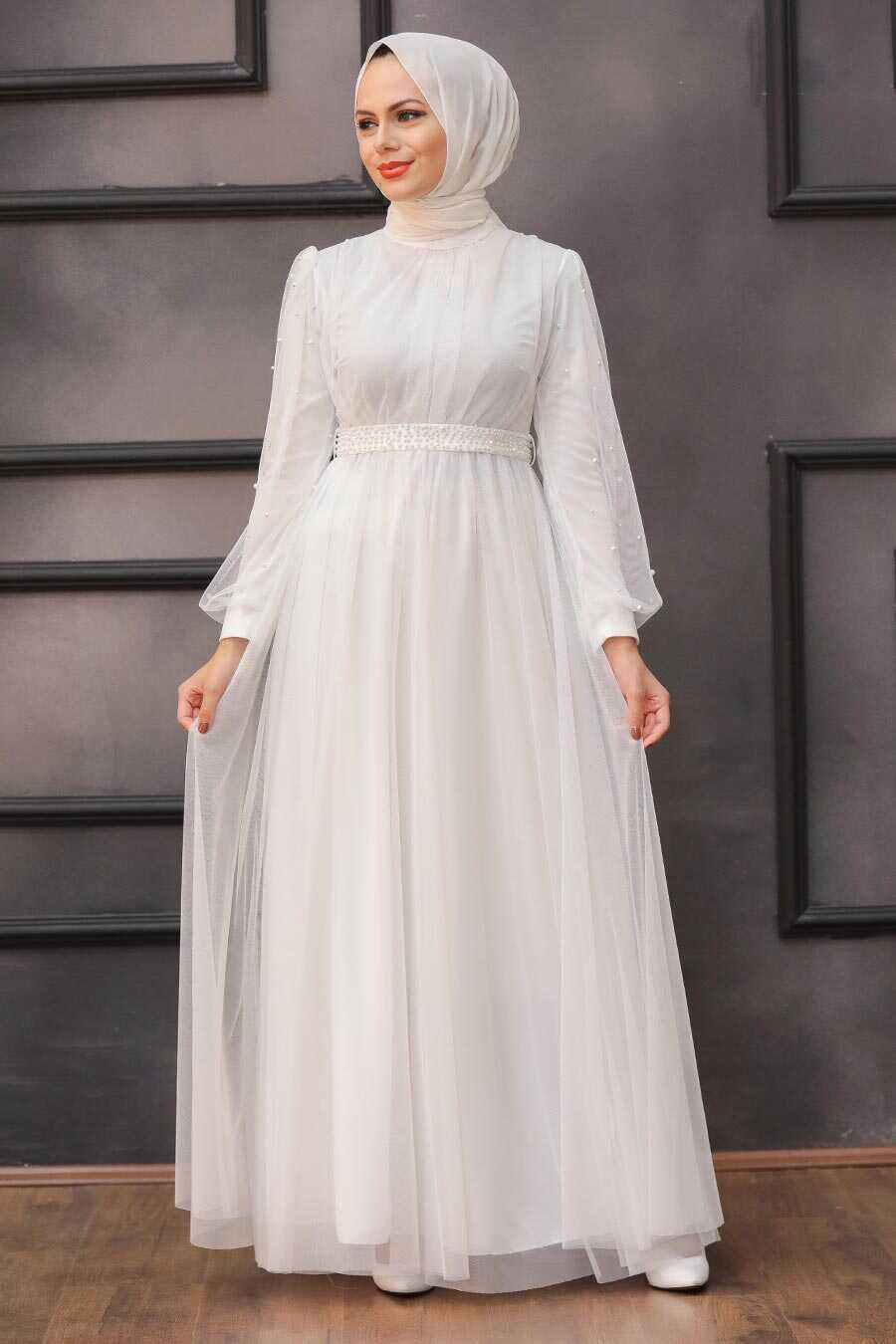White Hijab Evening Dress 5514B