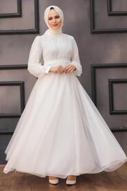 White Hijab Evening Dress 5514B - Thumbnail